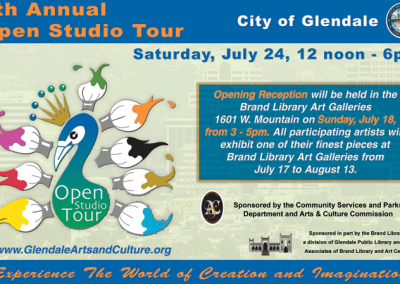Glendale 6th Annual Studio Tour and Art Exhibit at Brand Library  Glendale 6th Annual Open Studio Tour GLENDALE INVITE700 400x284